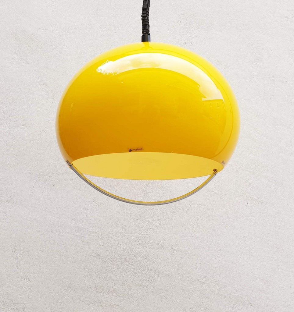 Large Vintage Yellow Space Age Ceiling Lamp, Meblo Guzzini, 70s