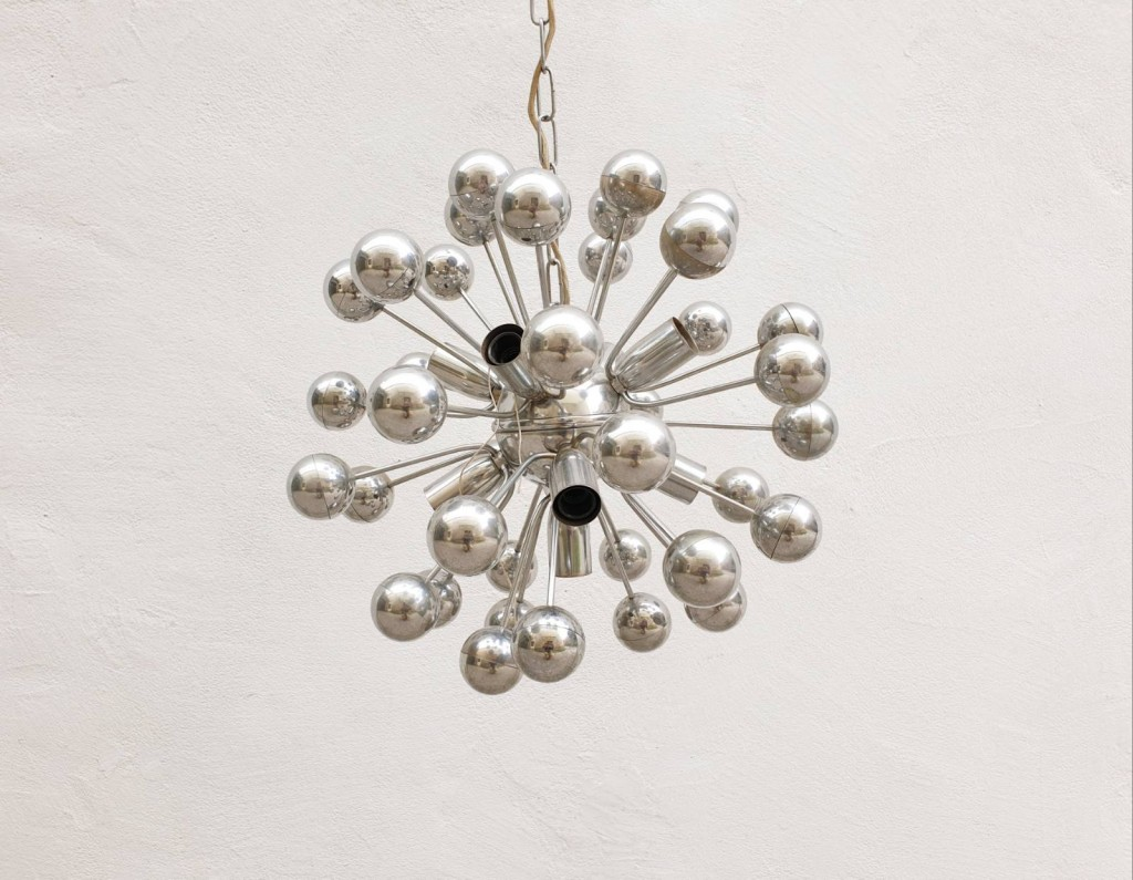 Space Age Sputnik Ceiling Lamp, Italy 70s