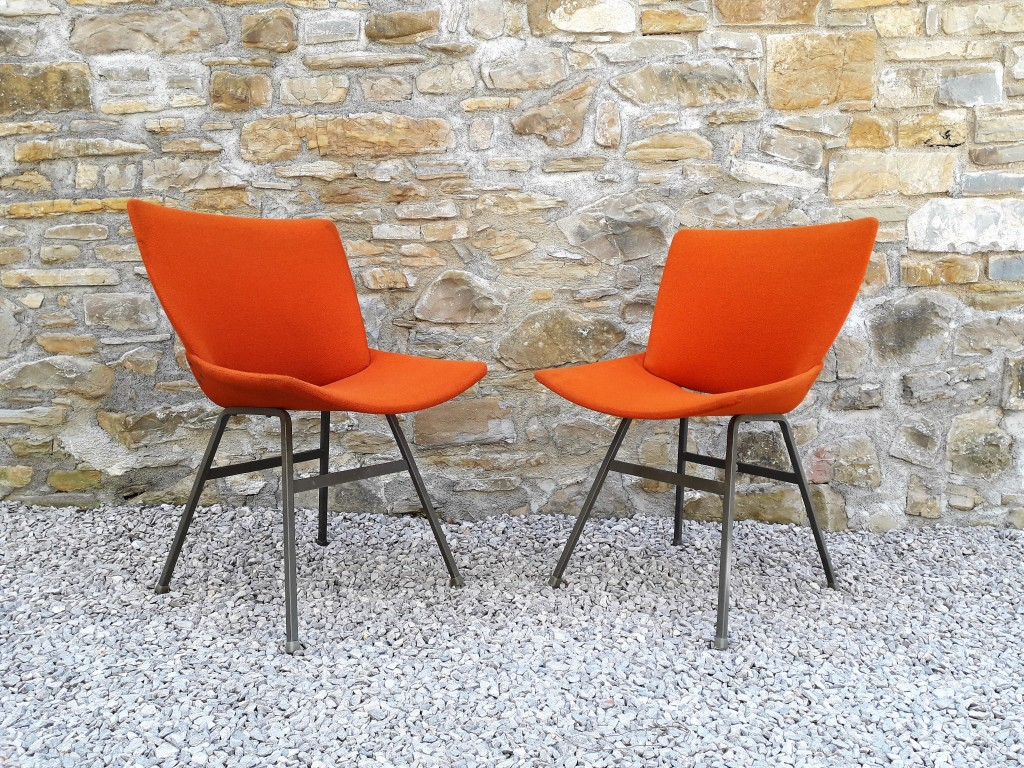 Mid Century Modern Pair of Easy Chairs Lupina / Design Niko Kralj / Lounge Chairs / Orange/ 60s