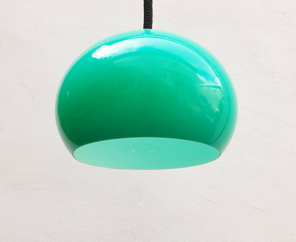 Adjustable Green Spheric Ceiling Light / Space Age Pendant Lamp / Meblo Guzzini / 70s
