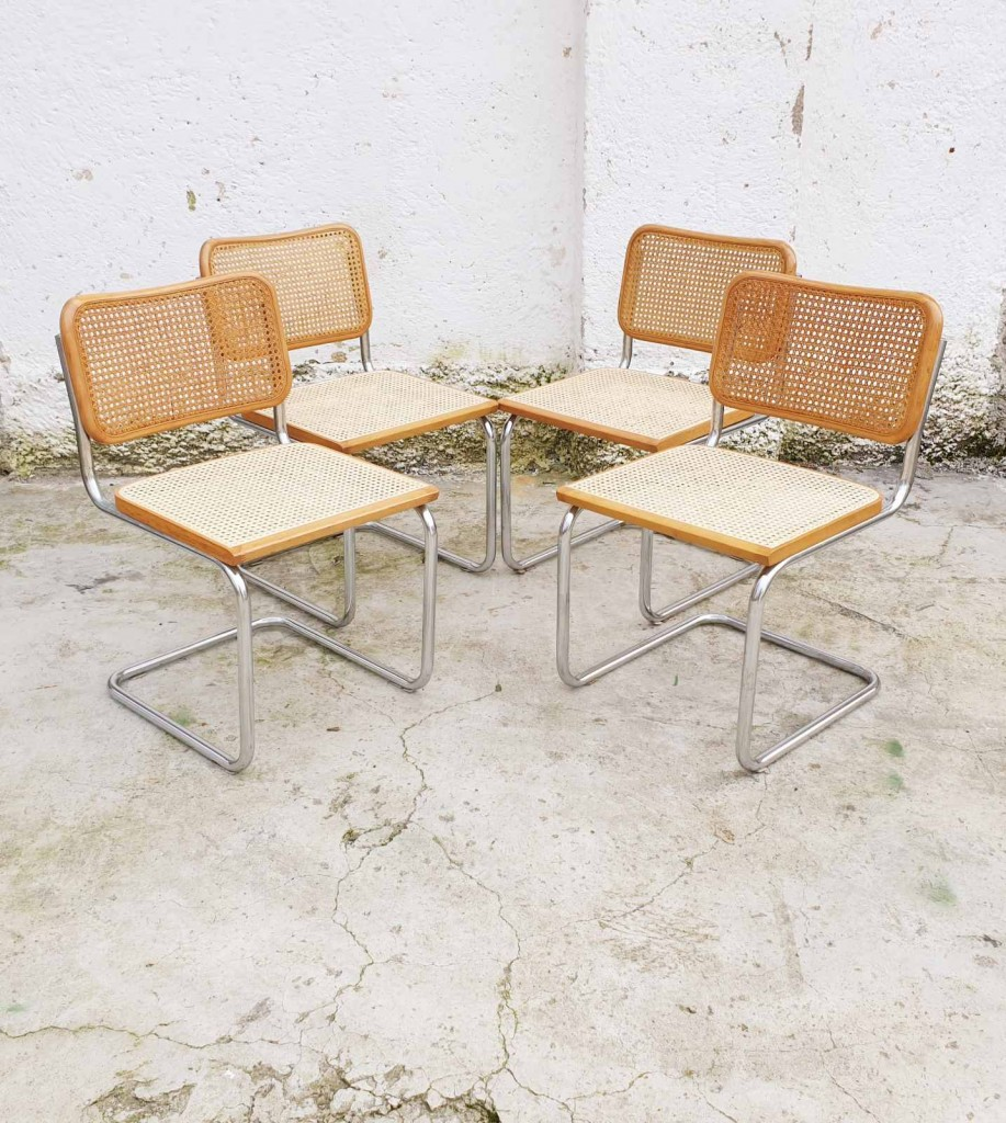 Set of 4 Cesca Chairs, Marcel Breuer,  Italy 70s