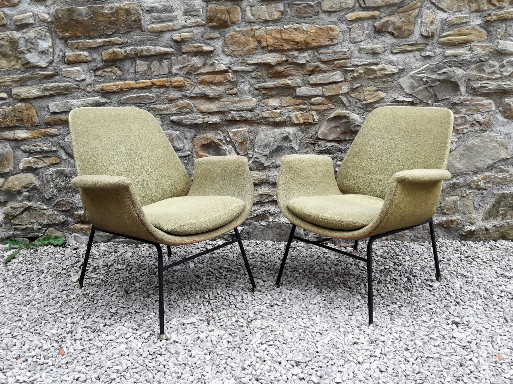 Vintage Mid Century Pair of Armchairs / Green Velvet / Alvin Lustig style / Easychairs /Lounge chairs / 50s
