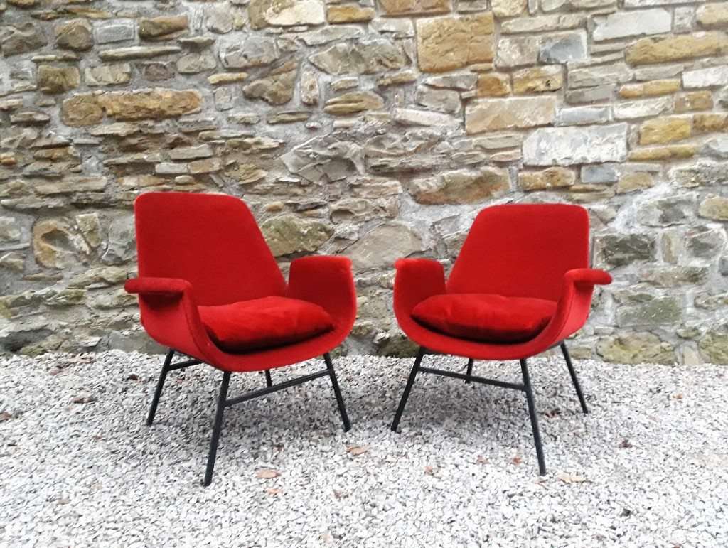 Pair of  Mid Century Armchairs / Alvin Lustig style / Lounge chairs / 50s