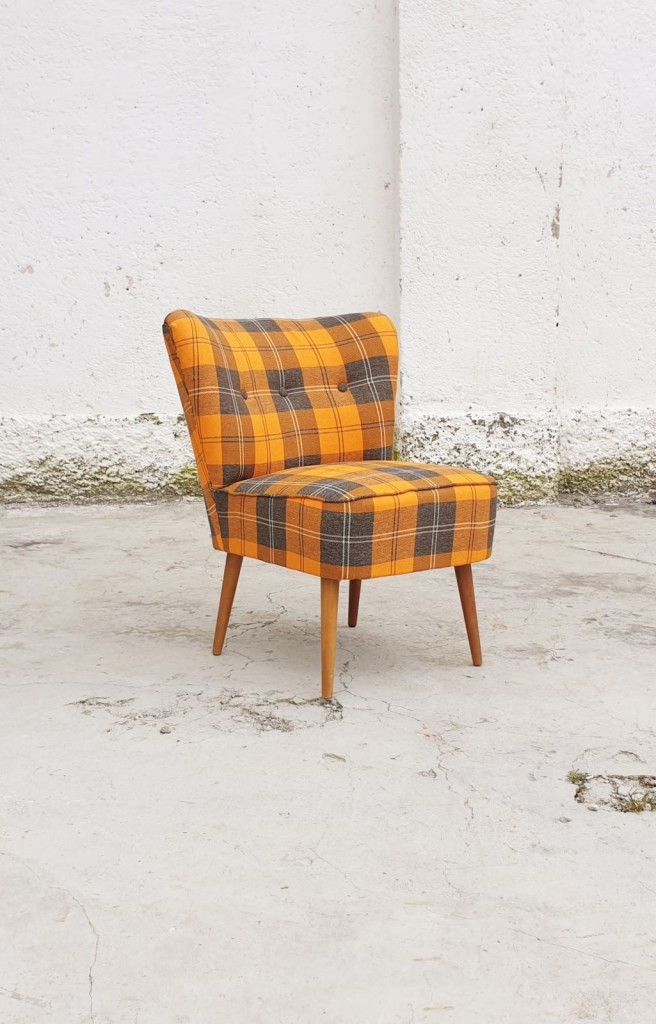 Mid Century Cocktail Chair, New Fabric, Scandinavian Design, 60s