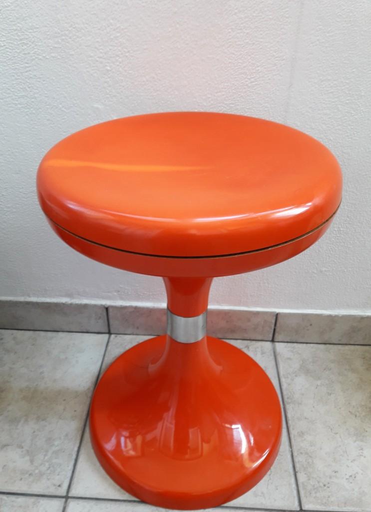Vintage Mid Century Orange Mushroom Porcini Stool Jurcek
