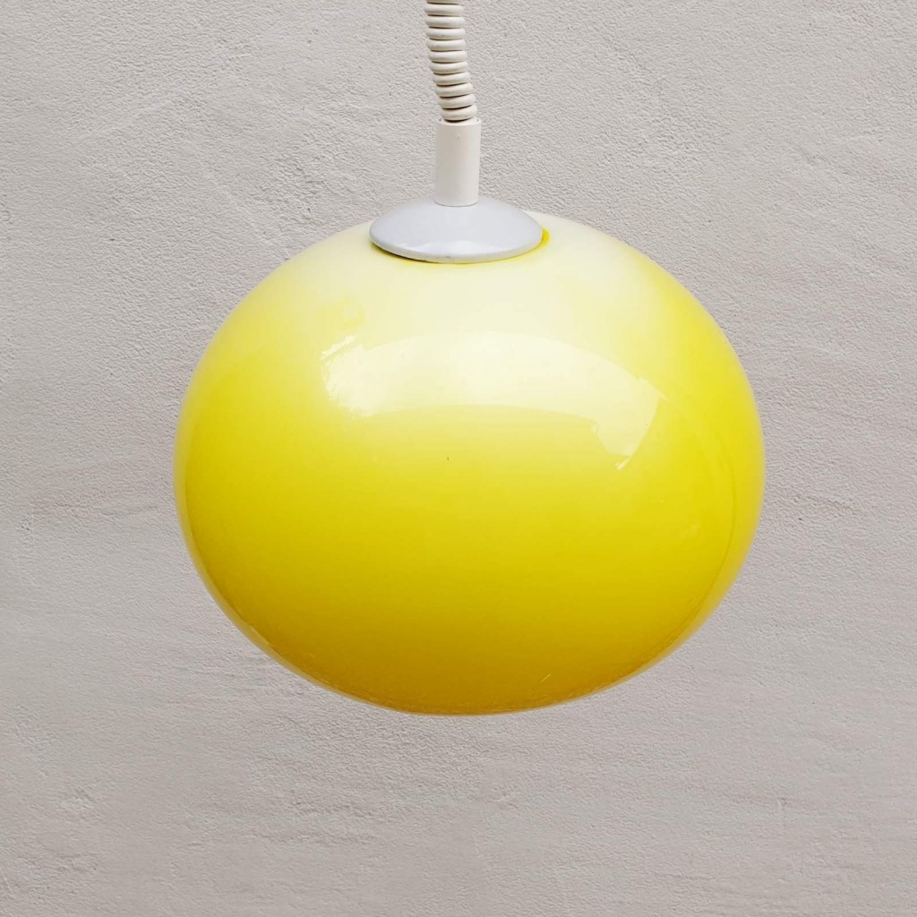 Vintage Adjustable Ceiling Lamp / Space Age Atomic Lighting / Yellow White / Design Harvey Guzzini /Meblo /70's Italy