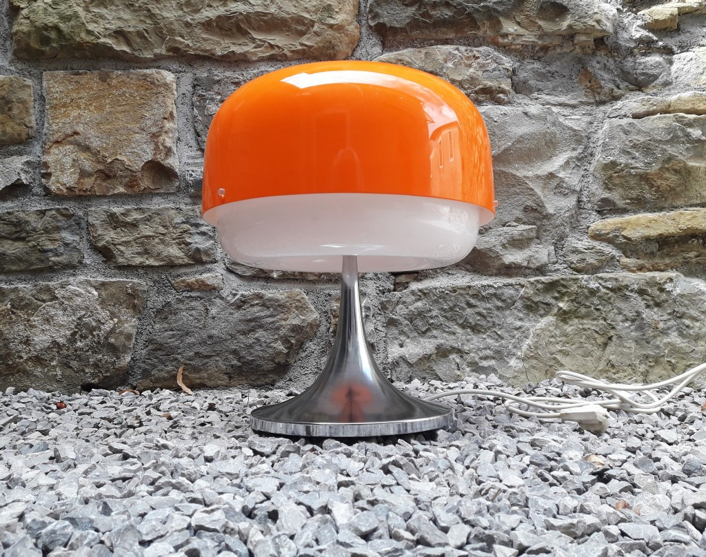 Original Mid Century Guzzini Table Lamp / Model Medusa design by Massoni / Rare Desk Light / Orange / Produced by Meblo, 70's Yugoslavia