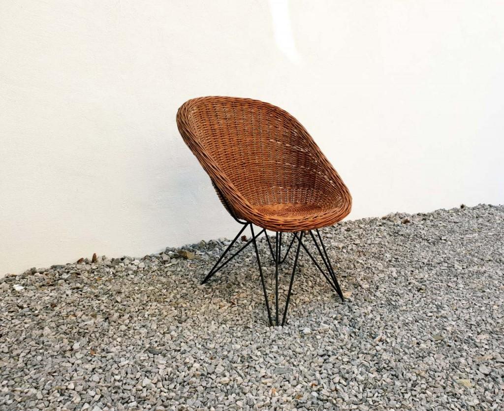 Vintage Pleten Lounge Stol / Ratan / Yugoslavia 60s