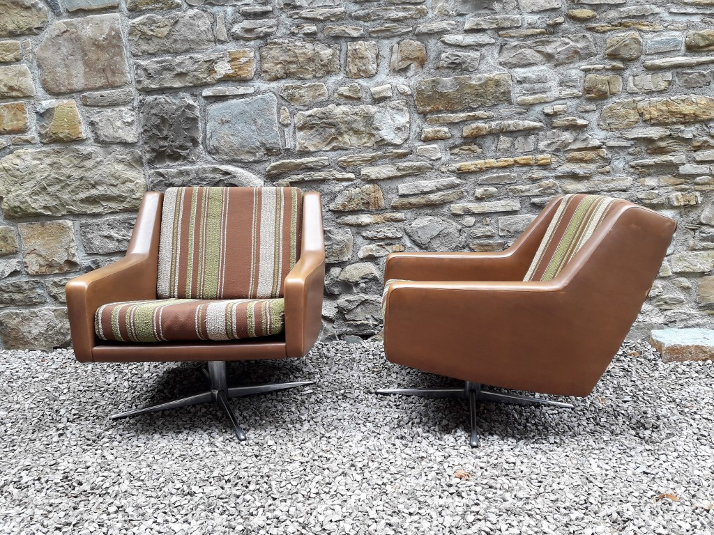 Mid Century Retro Danish Armchairs / Pair Armchairs / Leather / Cushion Fabric / Swivel Base / 60s
