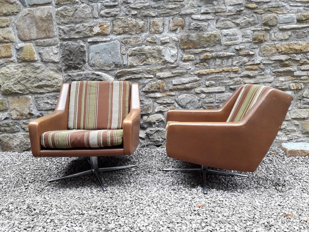 Mid Century Retro Danish Armchairs / Pair Armchairs / Leather / Cushion Fabric / Swivel Base / 60s