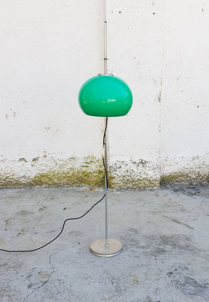 Mid Century Green Adjustable Floor Lamp, Design Guzzini, 70s