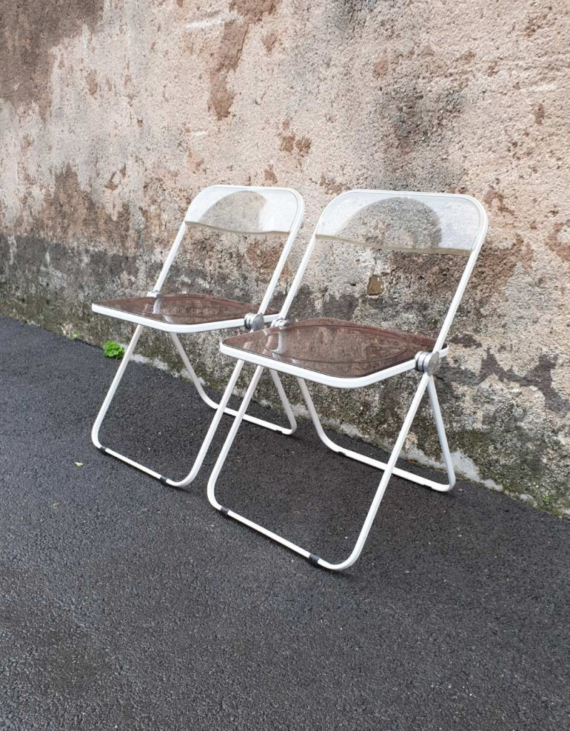 Pair of folding chairs, model Plia, design Piretti, Anonima Castelli, 70s Italy