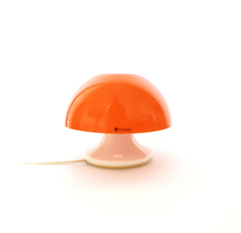 Mid Century Rare Orange Table Lamp / Mushroom Bedside Lamp /Model Nule/Design Luigi Massoni/Guzzini/Italy 70s