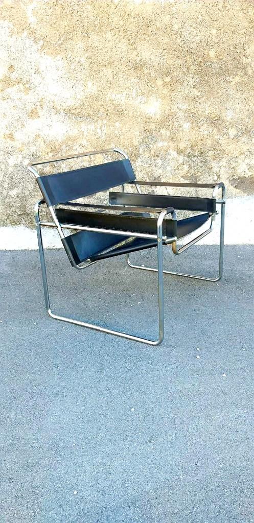 Mid Century Wassily Stol, Design Marcel Breuer, Gavina Italija 70s
