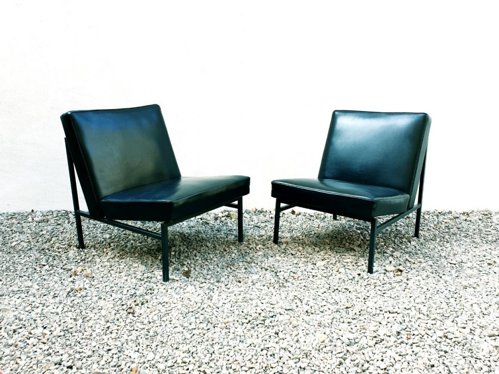 Mid Century Lounge Chairs / Stol Kamnik / Design Niko Kralj / Retro Pair Chairs / Black / Home Decor / 60s