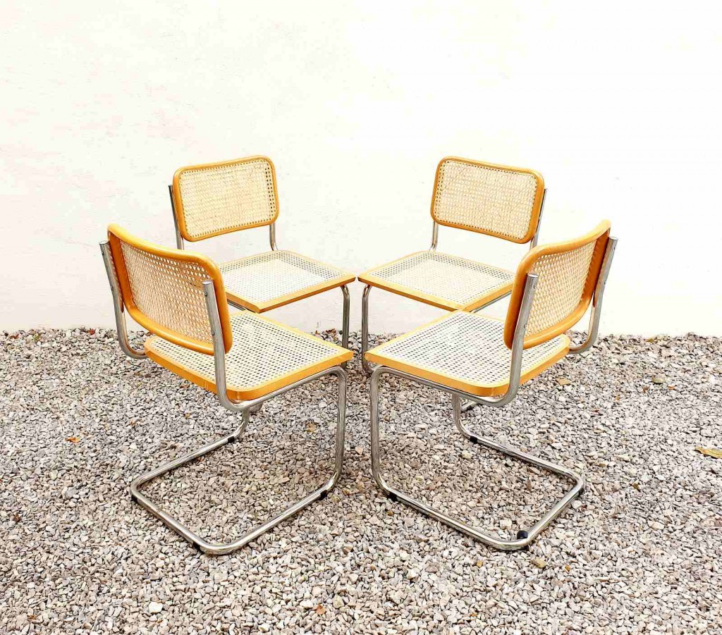 Set of 4 Cesca Chairs, Marcel Breuer, Gavina, Italy 70s