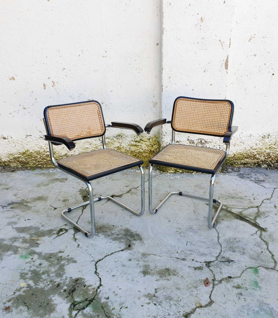 Pair of Mid Century Cantilever Armchairs /Vintage Marcel Breuer B64 Italian Cesca, Italy '70s